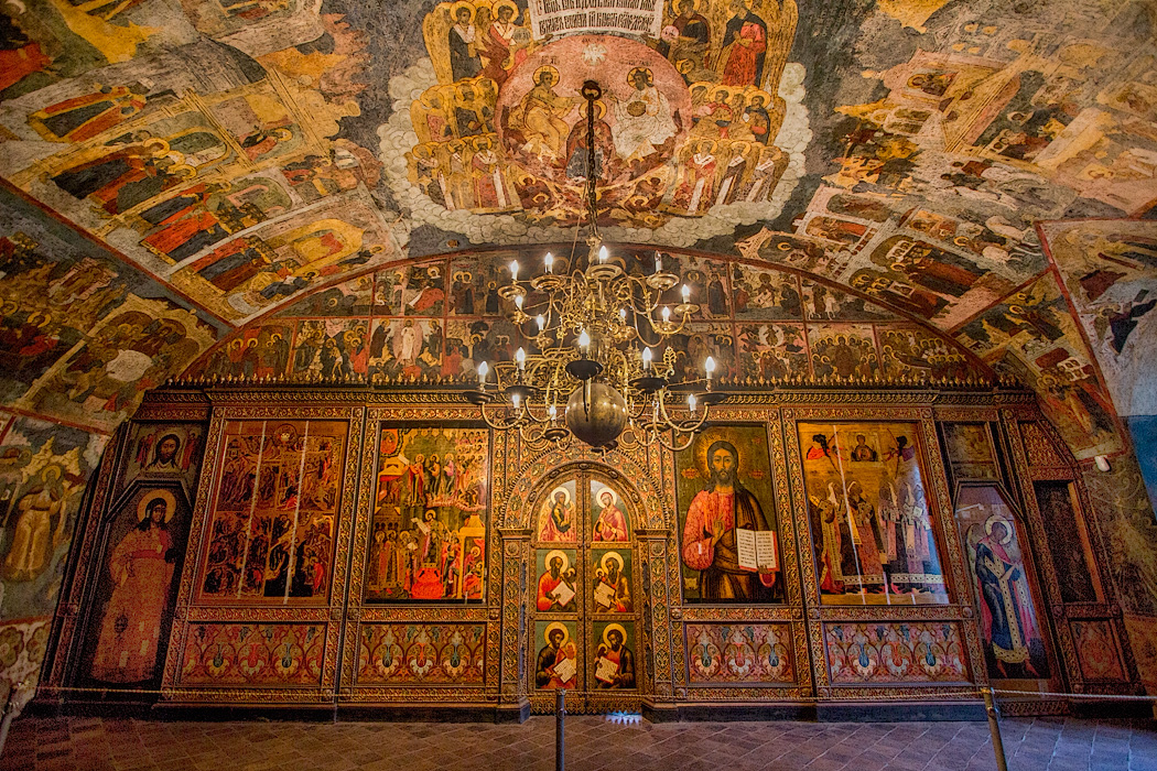 Iconostasis in the winter church at Church of the Prophet Elijah in Yaroslavl, Russia