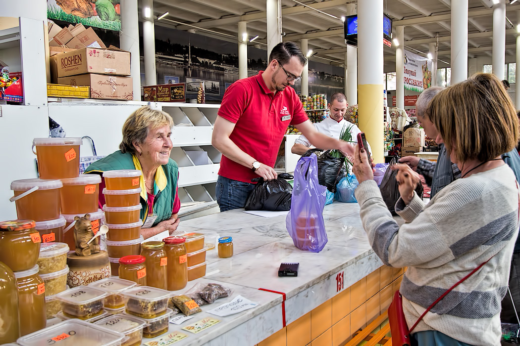 Shopping at the fresh market in Yaroslavl, Russia