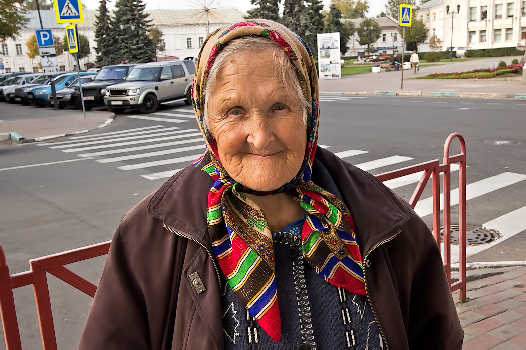 Local woman making her daily food purchases in Yaroslavl, Russia kindly allows me to take her photo
