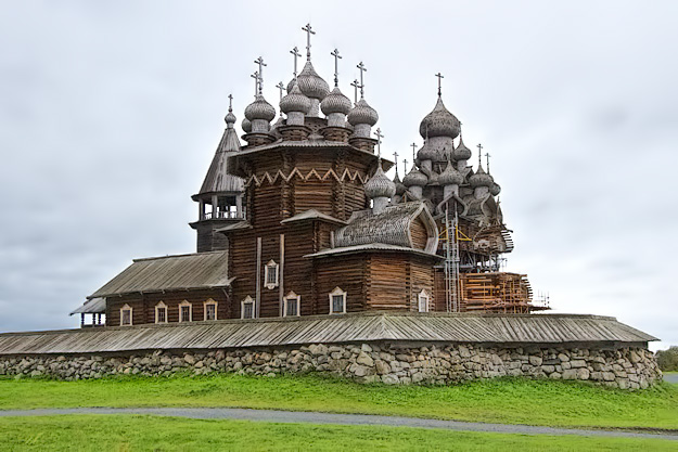 22-domed Transfiguration Summer Church on Kizhi Island on Lake Onega in Russia