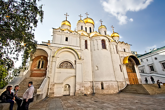 Annunciation Cathedral, one of the churches in Cathedral Square at the Kremlin in Moscow
