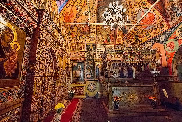 Ornate, gilded interior of St. Basil's Cathedral in Moscow's Red Square