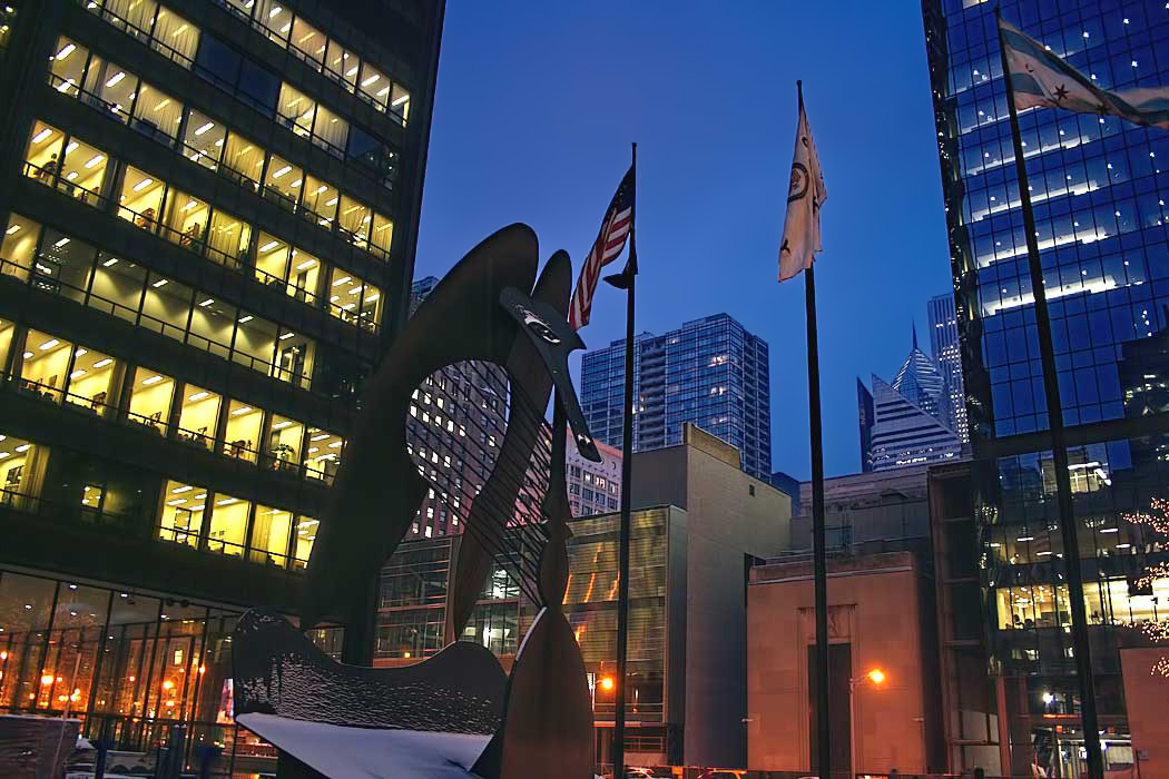 """The """"Chicago Picasso,"""" a sculpture by Pablo Picasso, stands in the center of Daley Plaza in downtown Chicago"""