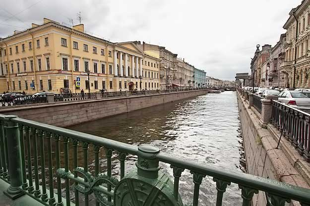 One of many lovely canals in the historic city center of Saint Petersburg
