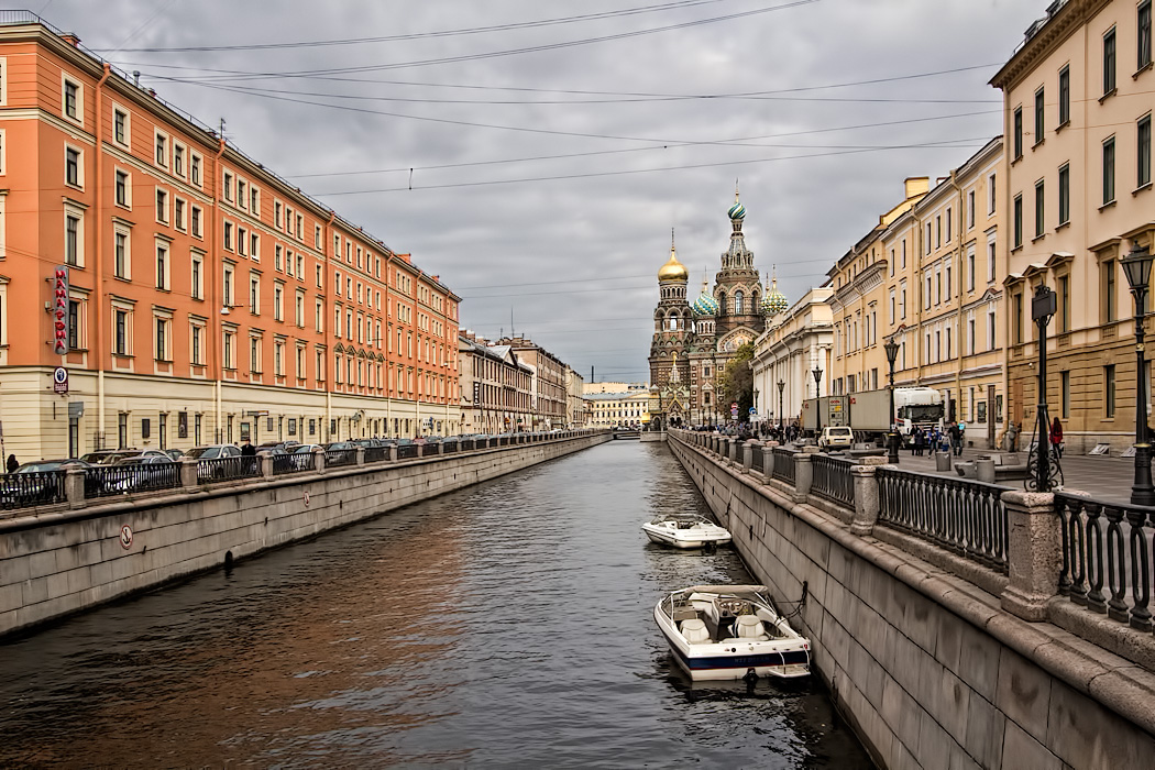 View down the Griboedova Canal in St. Petersburg, Russia