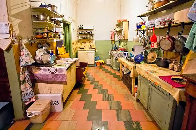 Each resident has their own food preparation area in the communal kitchen