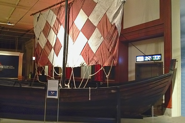 Replica of a Viking wooden sailing vessel