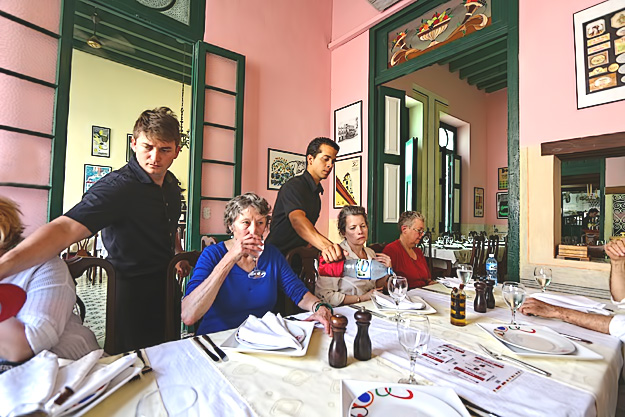 Lunch at Paladar Los Mercaderes  in Old Havana Cuba