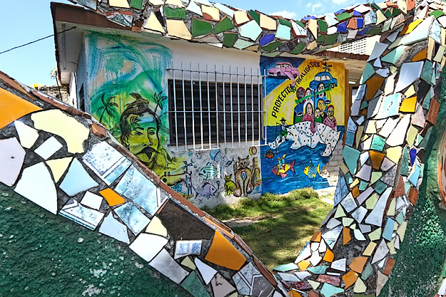 One of more than 80 houses that have been decorated by artists from Proyecto Fuster in Havana, Cuba