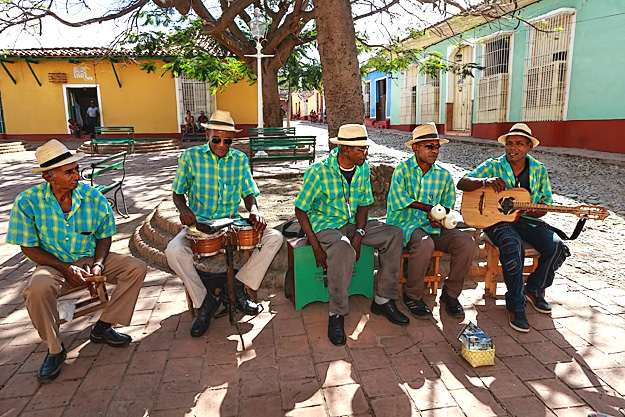 Cuban band performs traditional folk songs in Trinidad, Cuba