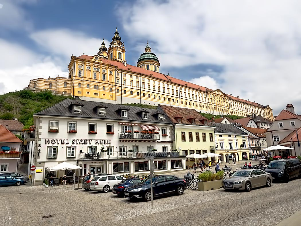 Melk Abbey, which sits on a rocky promontory above the town of Melk, Austria was founded in 1089 when King Leopold II donated land for the monastery to Benedictine monks