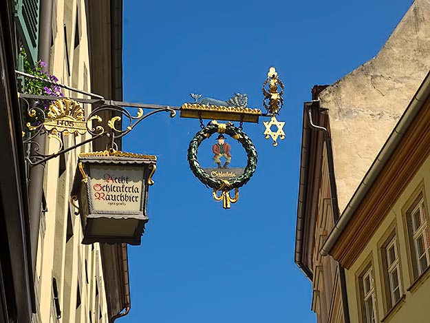 Brewers Guild mark over a pub in Bamberg indicates the town's famous smoked beer is served here