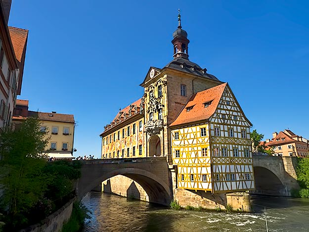Bamberg's Old Town Hall (Altes Rathaus), sits on an artificial island in the center of the River Regnitz