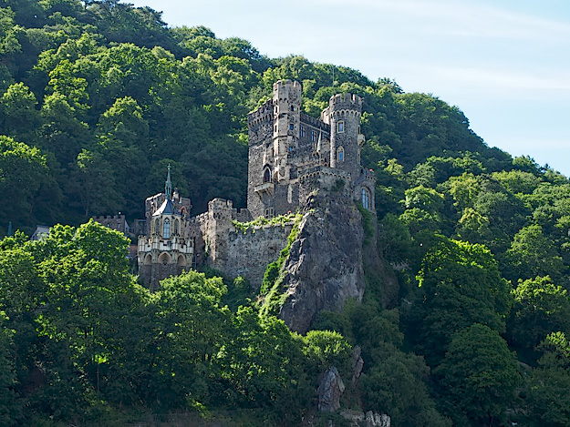 Rheinstein Castle, located between Trehtingshausen and Bingen, which marks the end of the area known as the Middle Rhine