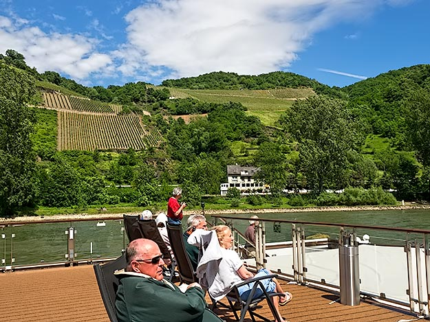 Near vertical vineyards cover the hillsides of the Middle Rhine, as they have done since the 11th century