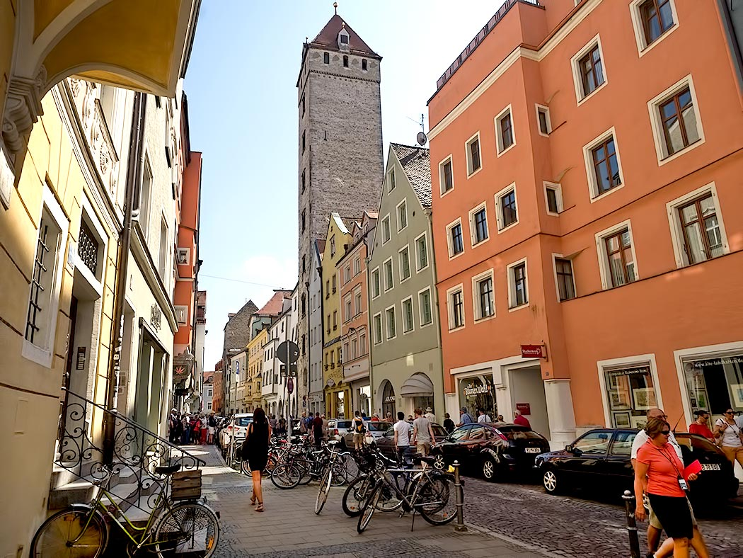One of the towers of Regensburg Germany, built by merchants in medieval times to showcase their wealth