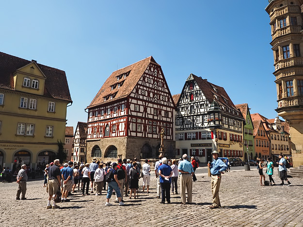 Half-timbered houses on the main square in Rothenberg ob der Tauber, Germany