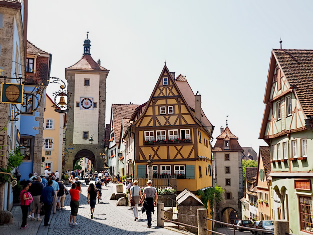 Sieber's Towers (left) and Kobolzell Gate (right) in the medieval Franconian town of Rothenberg ob der Tauber, Germany