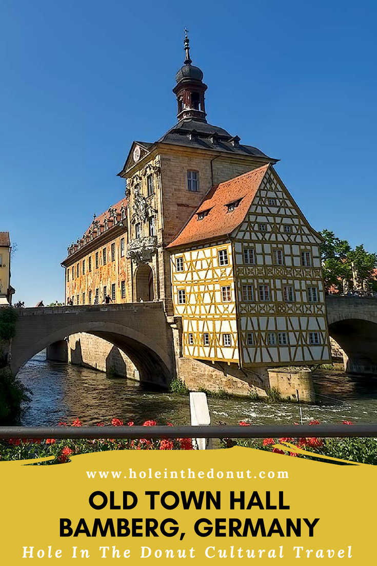 Built in the middle of the Regnitz River, the 14th century Old Town Hall in Bamberg, Germany features a facade decorated with trompe d'oeil frescoes