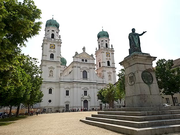 Uninspiring exterior of St. Stephen's Cathedral in Passau