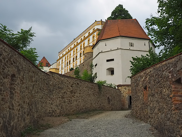 Veste Oberhaus fortress dominates the cliff across the Danube from Passau