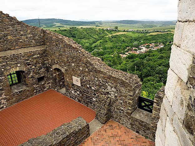 Beautiful views over the Hungarian hills from the top of Holloko Castle