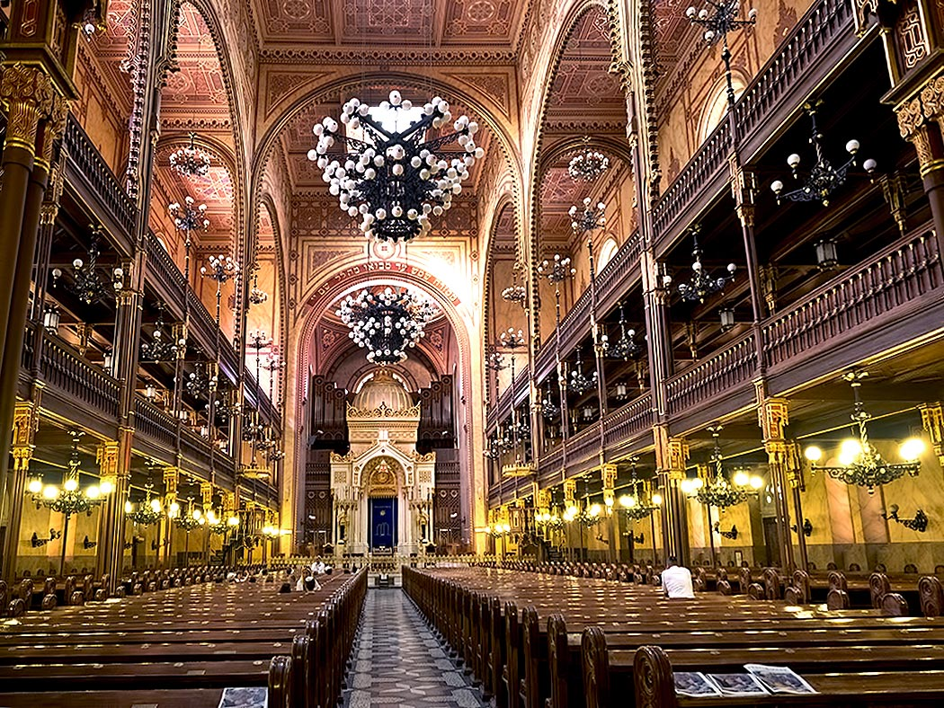 Interior of Dohany Synagogue in Budapest, Hungary