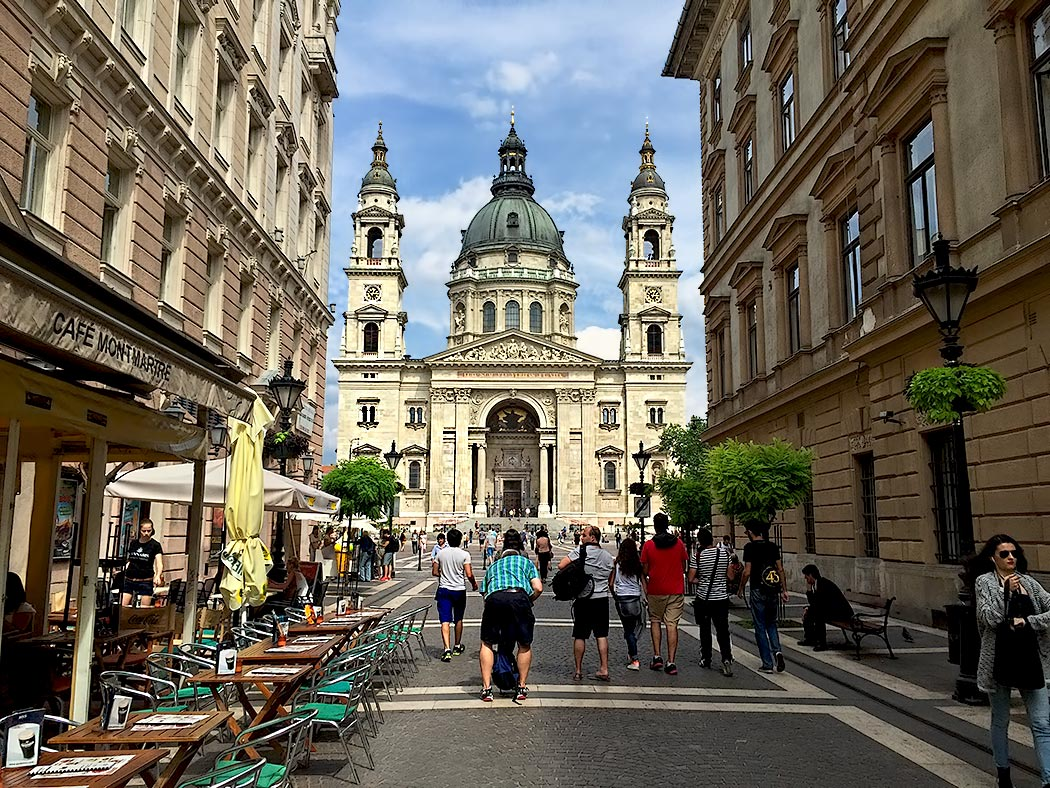 Street leading to St. Stephen's Basilica and Square, considered the heart of Budapest, Hungary