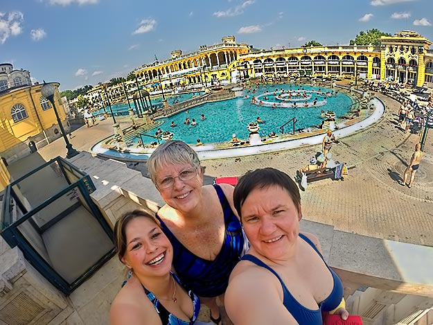 Enjoying the day at Szechenyi Baths, one of the most famous thermal baths in Budapest, with my friends, Agi and Dessy