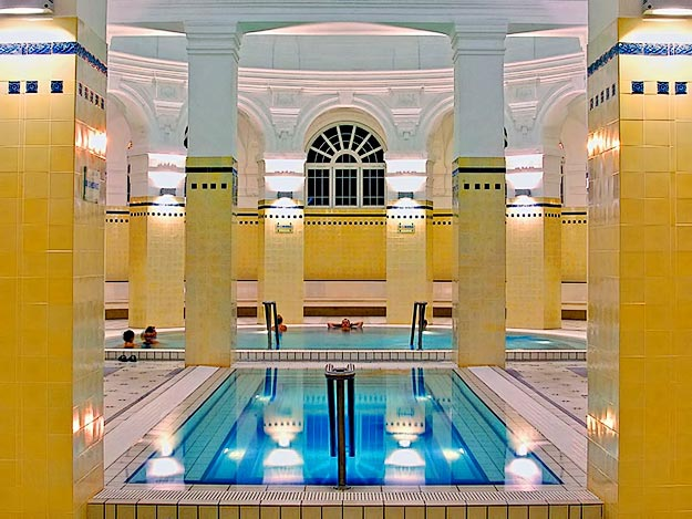 Thermal bath and cold plunge at Szechenyi Baths