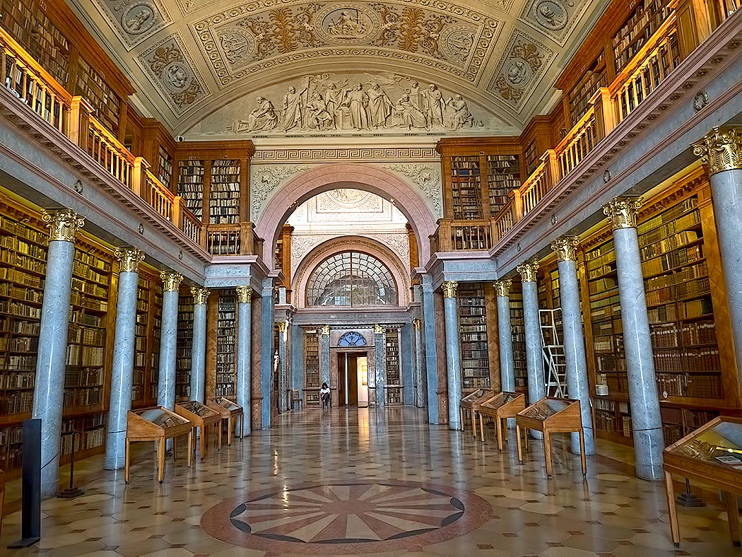 Library of the Benedictine Abbey of Pannonhalma in northern Hungary