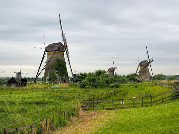For hundreds of years, these windmills in Kinderdijk, Holland drained lands that lie more than 20 feet below the water level