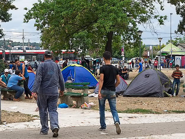 The park in front of the Belgrade bus station has been converted to a refugee camp, with the support of the Serbian government