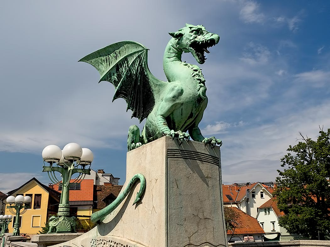 One of four dragons that adorn the Dragon Bridge in Ljubljana, Slovenia