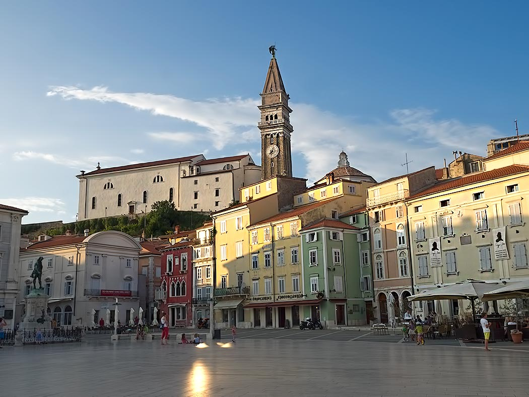 Tartini Square in the coastal town of Piran, Slovenia
