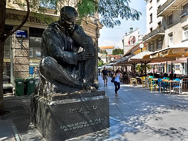 One of the more prominent sculptures in Zagreb is this massive one of Nikolai Tesla
