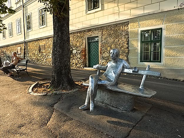 Life imitates art in this sculpture on Strossmayer Promenade in the Upper Town of Zagreb, Croatia