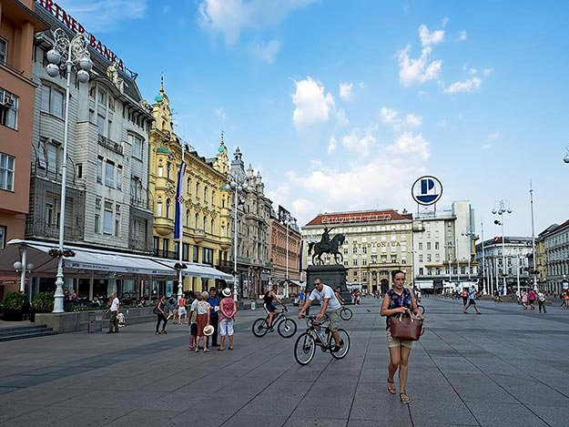 Heart of Zagreb, Bana J. Jelacica Square, is almost empty in the summer, as most Zagreb residents have fled to the coast for their annual holiday
