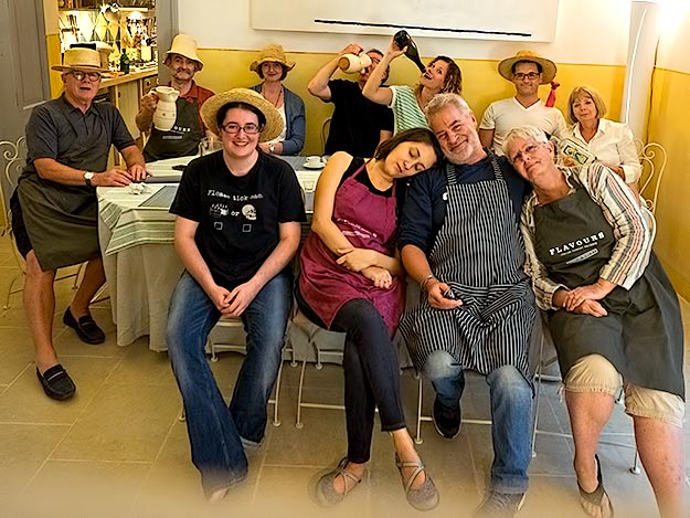 Pooped but pleased with ourselves, we pose for a group photo at the end of our week-long cooking intensive with Flavours Holidays
