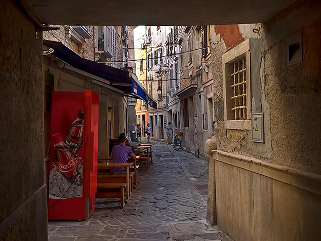 Ancient streets of Piran, on the coast of Slovenia