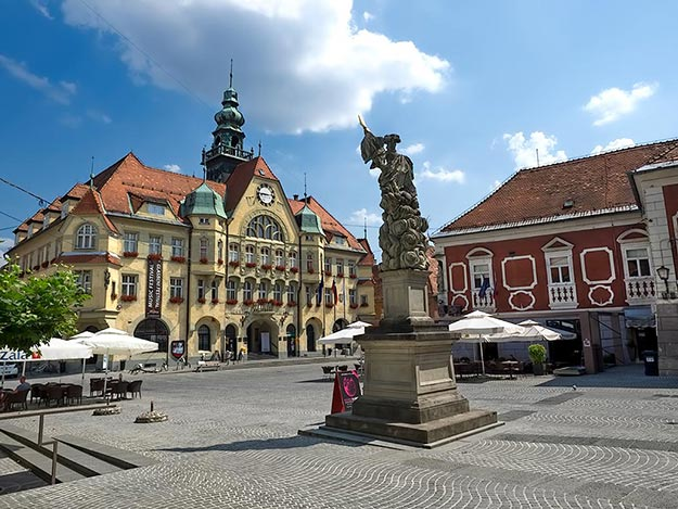 Town Hall and main square in Ptuj, Slovenia