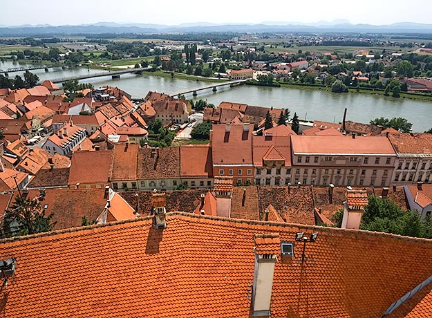 View over Ptuj, the oldest town in Slovenia, from the Ptuj Castle