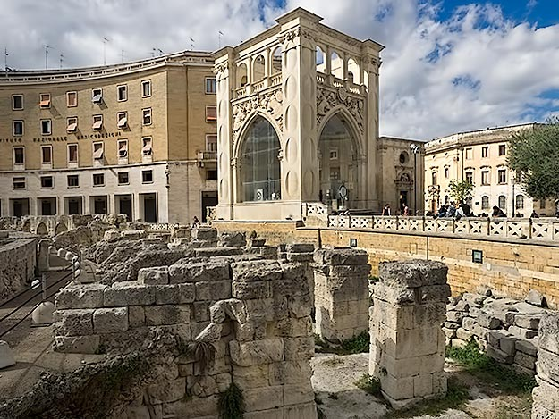 Ruins of the Roman amphitheater in the center of Saint Oronzo Piazza in Lecce, Italy