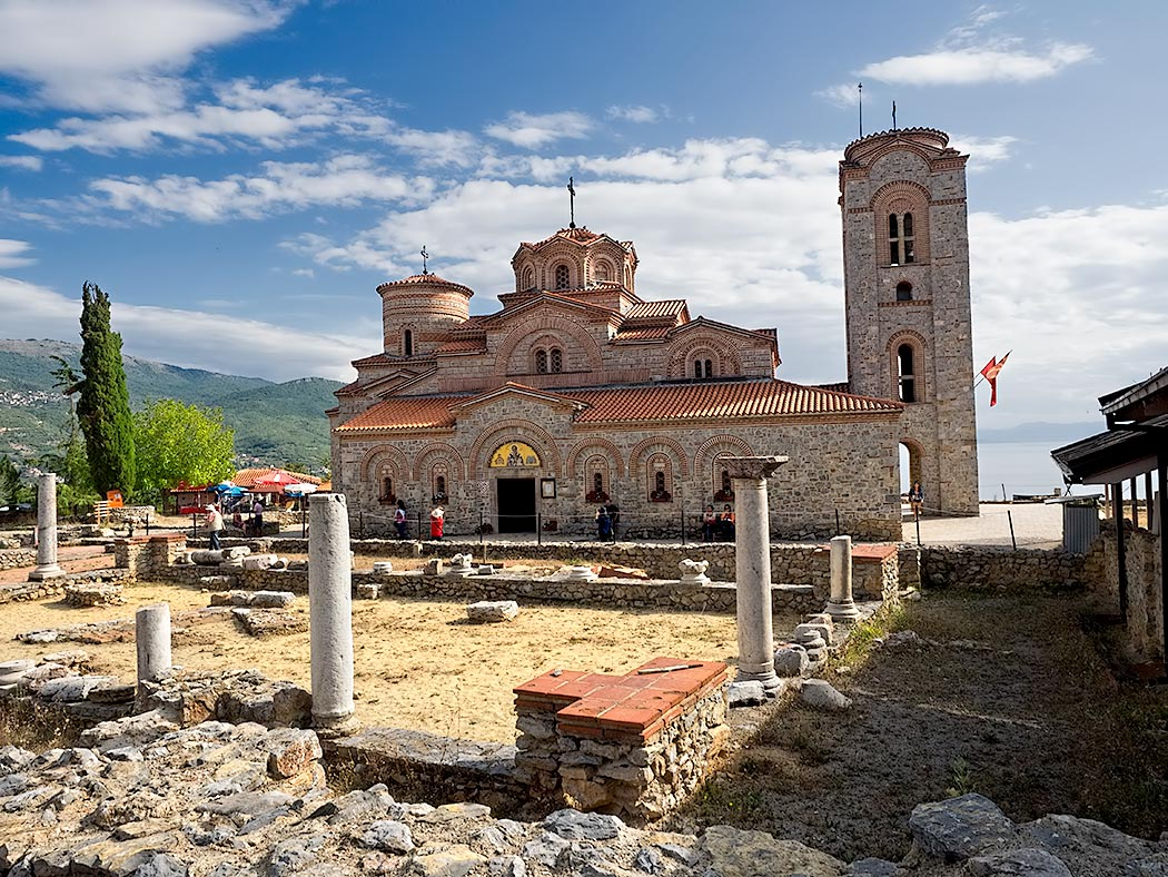 St. Clement and Panteleimon Church sits high on a bluff overlooking Lake Ohrid in in Ohrid, Macedonia. It was built in 893 on the foundation of the early Christian basilica known as Plasonik