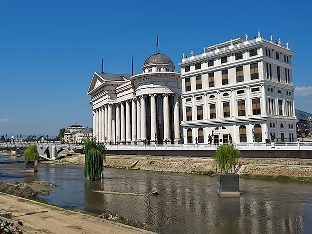 Three very expensive weeping willow trees sit in the middle of the Vardar River in Skopje, Macedonia, part of the controversial Skopje 2014 project