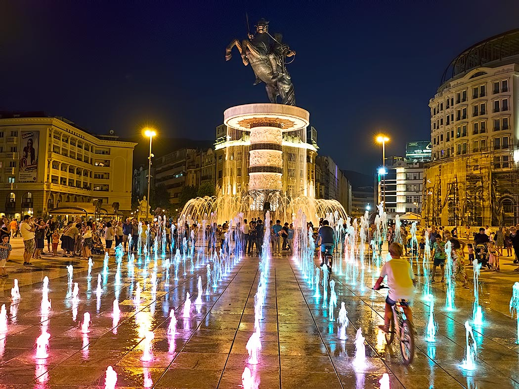 "Centerpiece of Skope, Macedonia is Macedonia Square, dominated by the ""Warrior on a Horse"" statue and fountain. Though meant to depict Alexander the Great, the sculpture is not named for him, due to an ongoing dispute with Greece over cultural claims on such historical figures."