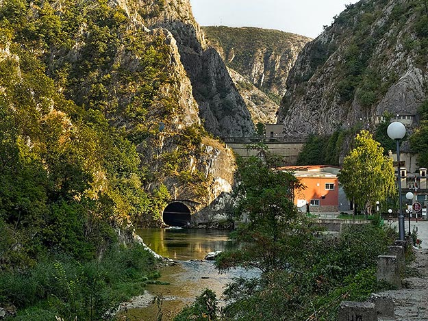 Access to Matka Canyon begins along the Treska River, below a dam that provides hydroelectric power to the city of Skopje