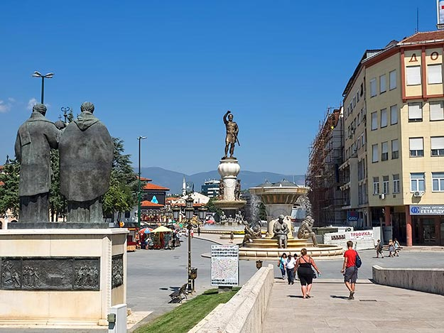Monuments continue on the north side of the Stone Bridge, including a giant one of Philip II of Macedonia