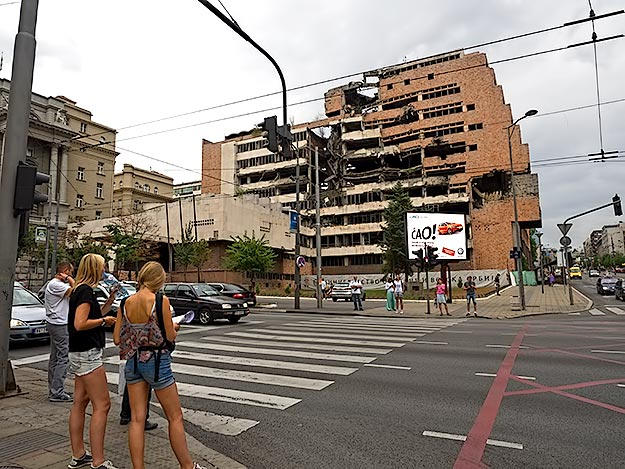 Bombed out shell of an ex-government building, destroyed during the 1999 NATO intervention to stop the Serbian war in Kosovo