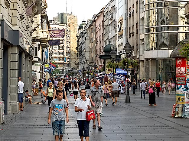 Pedestrian shopping street near Republic Square in the center of Belgrade, the nicest area of the city